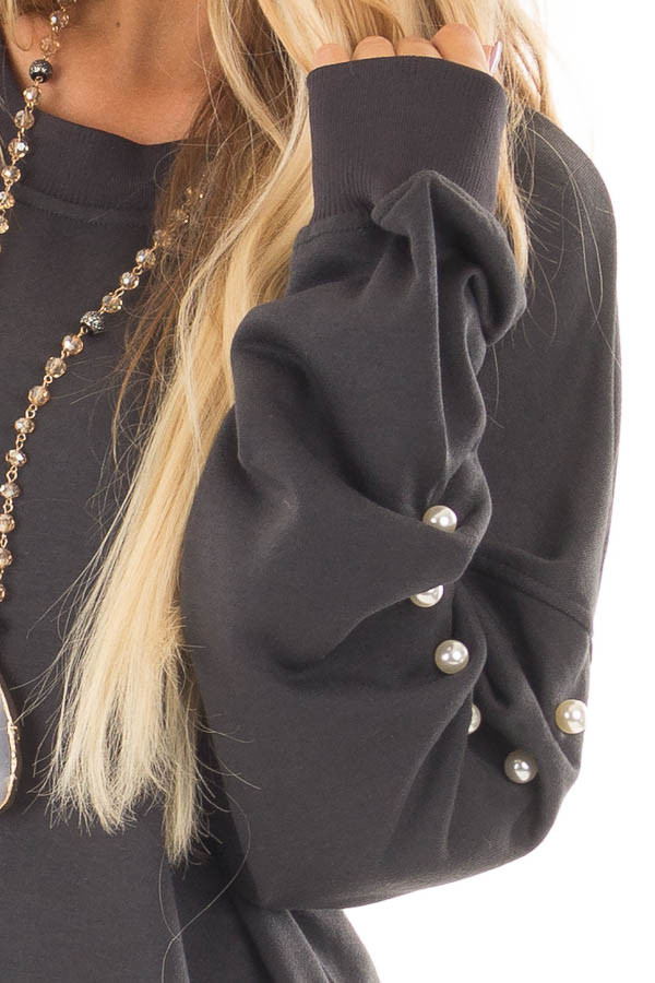 Charcoal Sweater with Pearl Detailed Sleeves front detail