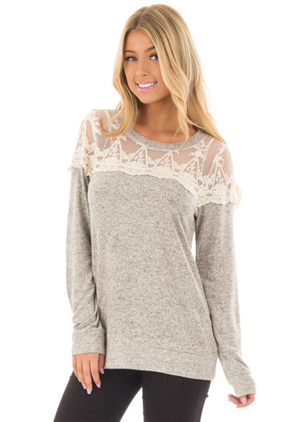 Heather Grey Two Tone Super Soft Sweater with Sheer Neckline front closeup