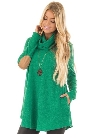Kelly Green Sweater with Cowl Neck and Elbow Patches front closeup