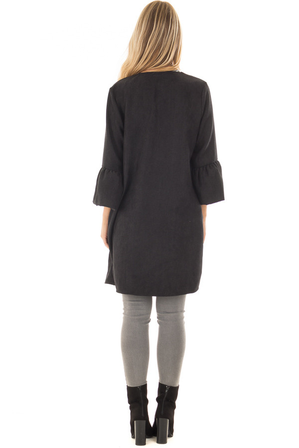 Black Cardigan with 3/4 Bell Sleeves back full body