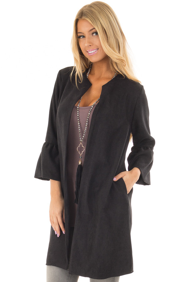 Black Cardigan with 3/4 Bell Sleeves front closeup