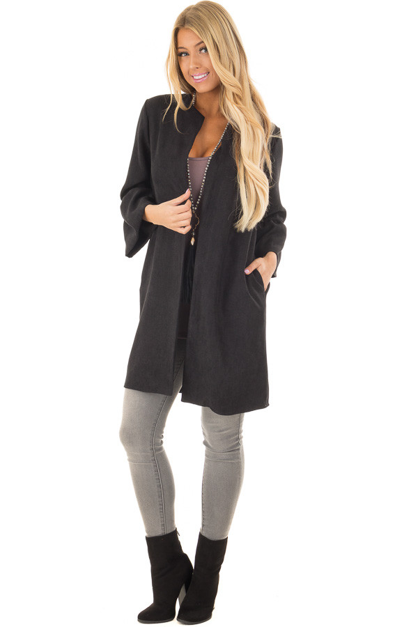 Black Cardigan with 3/4 Bell Sleeves front full body