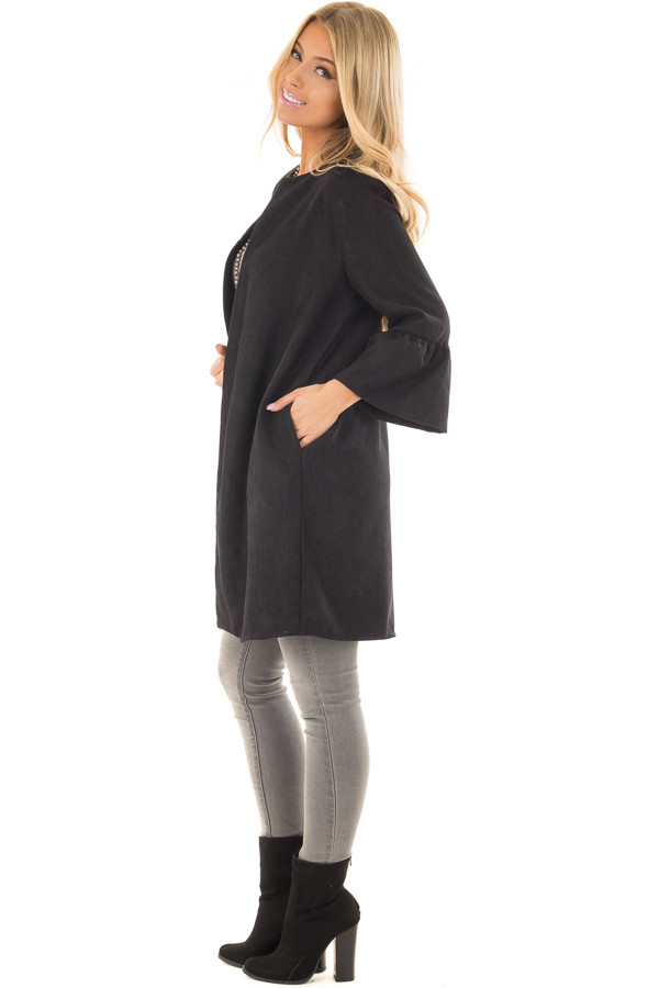 Black Cardigan with 3/4 Bell Sleeves side full body