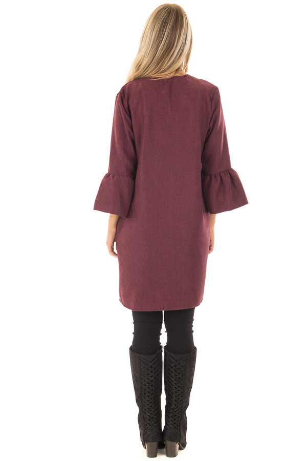 Burgundy Cardigan with 3/4 Bell Sleeves back full body