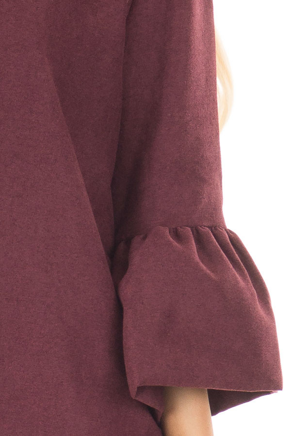 Burgundy Cardigan with 3/4 Bell Sleeves front detail