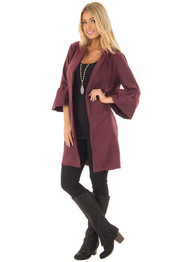 Burgundy Cardigan with 3/4 Bell Sleeves front full body