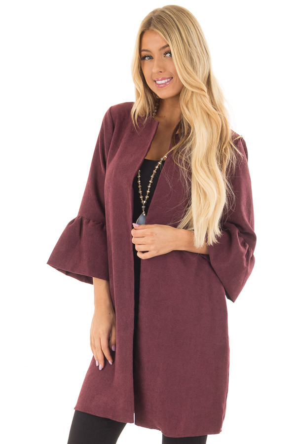 Burgundy Cardigan with 3/4 Bell Sleeves front closeup
