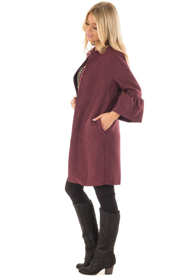 Burgundy Cardigan with 3/4 Bell Sleeves side full body
