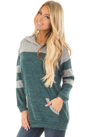 Hunter Green and Heather Grey Hoodie with Striped Sleeves front closeup