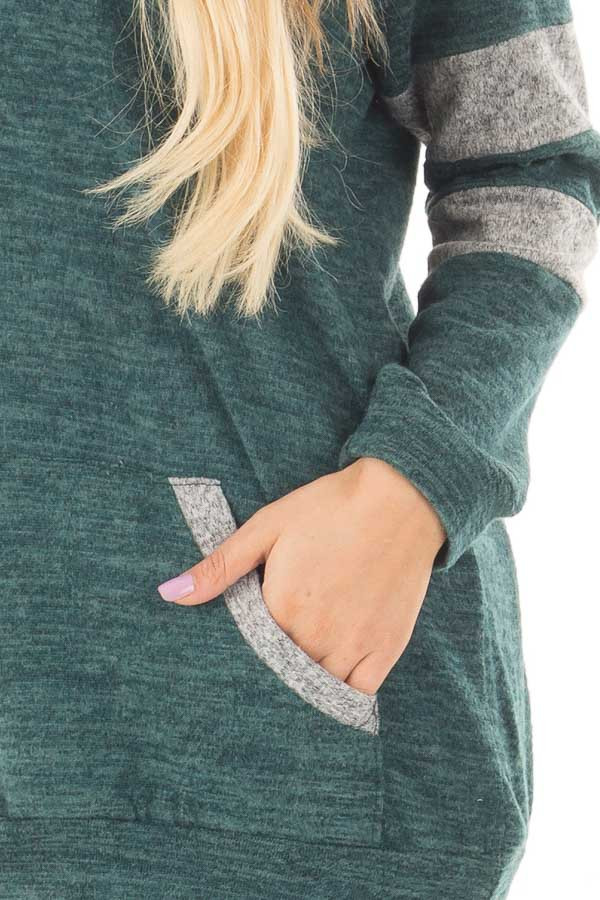Hunter Green and Heather Grey Hoodie with Striped Sleeves front detail
