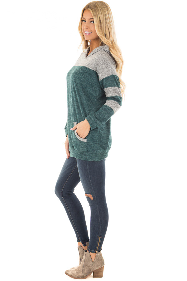Hunter Green and Heather Grey Hoodie with Striped Sleeves side full body