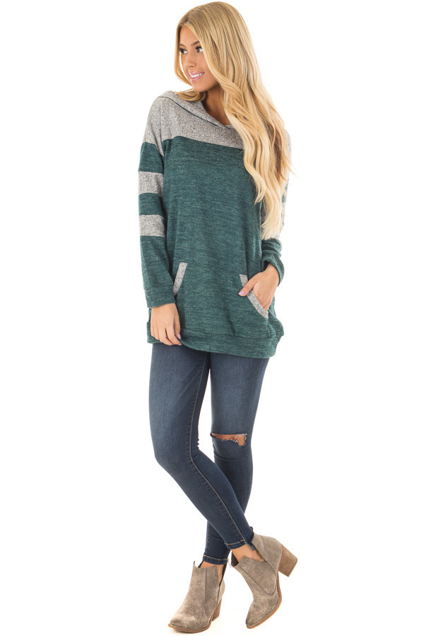 Hunter Green and Heather Grey Hoodie with Striped Sleeves front full body