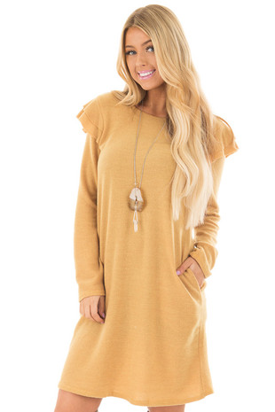 Mustard Long Sleeve Dress with Ruffle Details front closeup