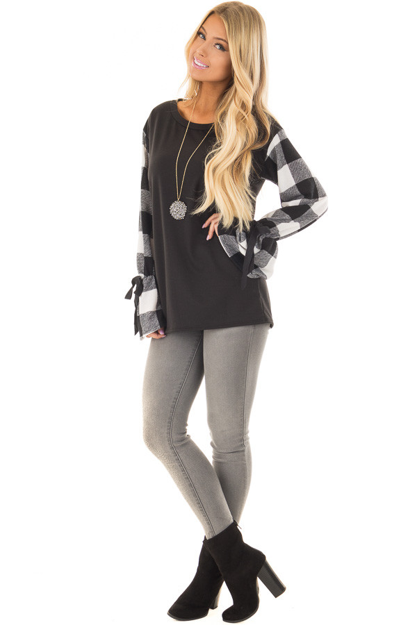 Black Sweater with Plaid Sleeves and Tie Cuff Detail front full body
