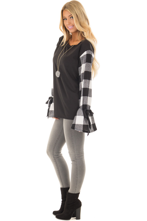 Black Sweater with Plaid Sleeves and Tie Cuff Detail side full body