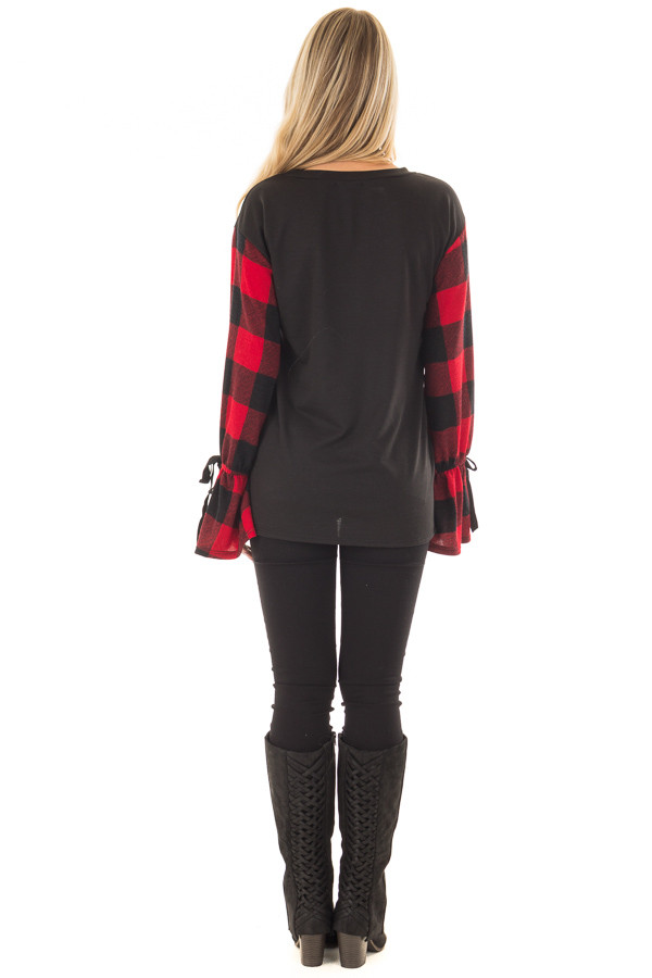 Black Sweater with Red Plaid Sleeves and Tie Cuff Detail back full body