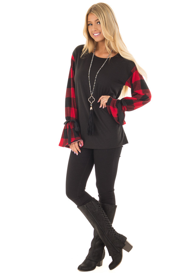 Black Sweater with Red Plaid Sleeves and Tie Cuff Detail front full body