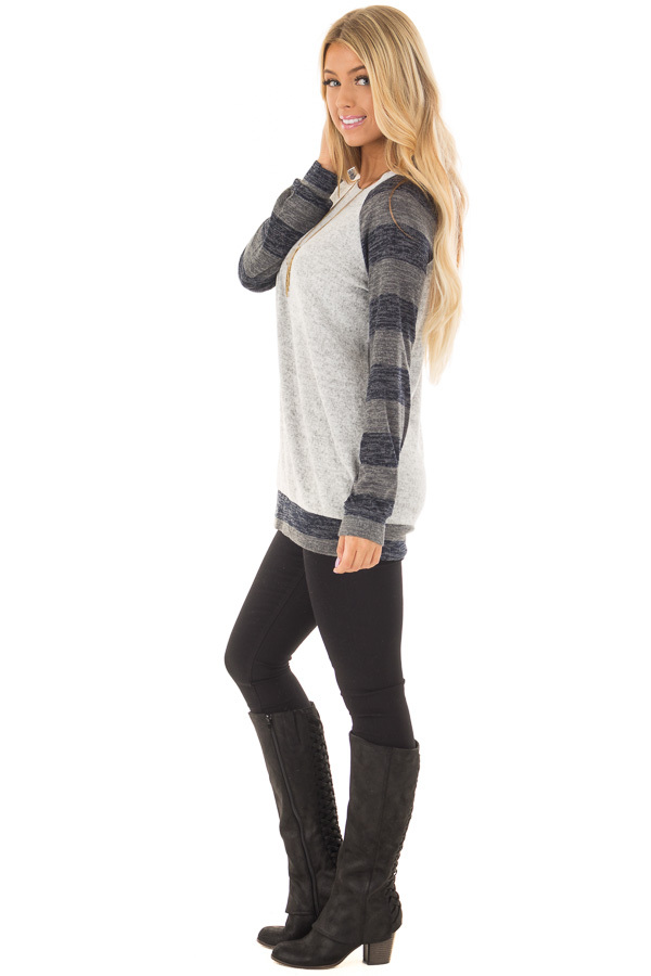 Heather Grey Sweater with Charcoal Striped Raglan Sleeves side full body