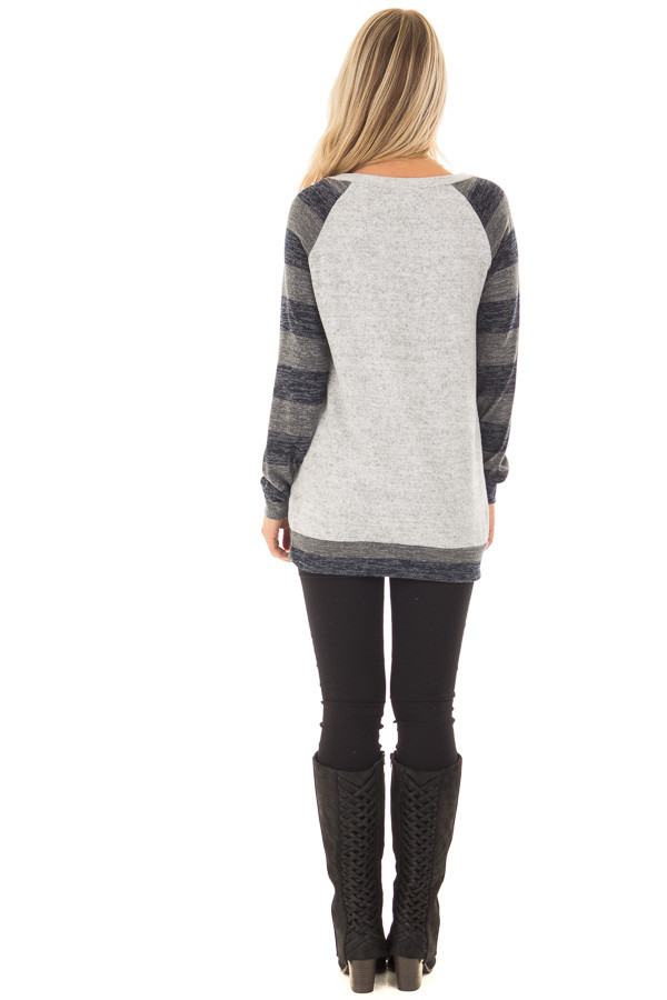 Heather Grey Sweater with Charcoal Striped Raglan Sleeves back full body