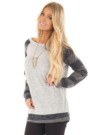 Heather Grey Sweater with Charcoal Striped Raglan Sleeves front closeup