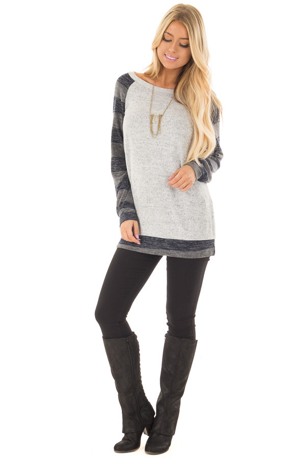 Heather Grey Sweater with Charcoal Striped Raglan Sleeves front full body