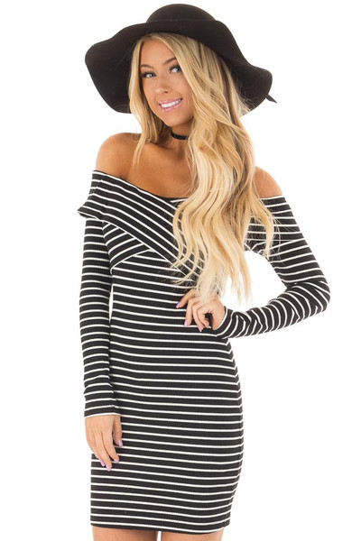 Black and White Striped Off the Shoulder Bodycon Dress front closeup
