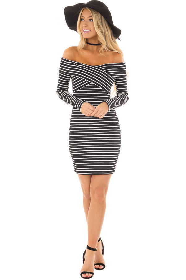 Black and White Striped Off the Shoulder Bodycon Dress front full body