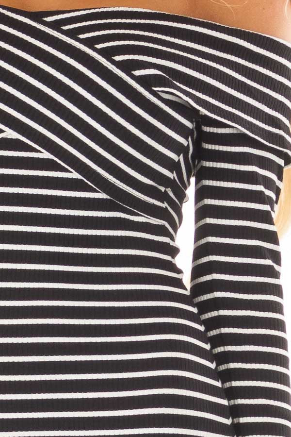 Black and White Striped Off the Shoulder Bodycon Dress front detail