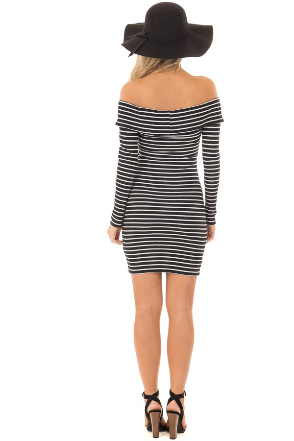 Black and White Striped Off the Shoulder Bodycon Dress back full body