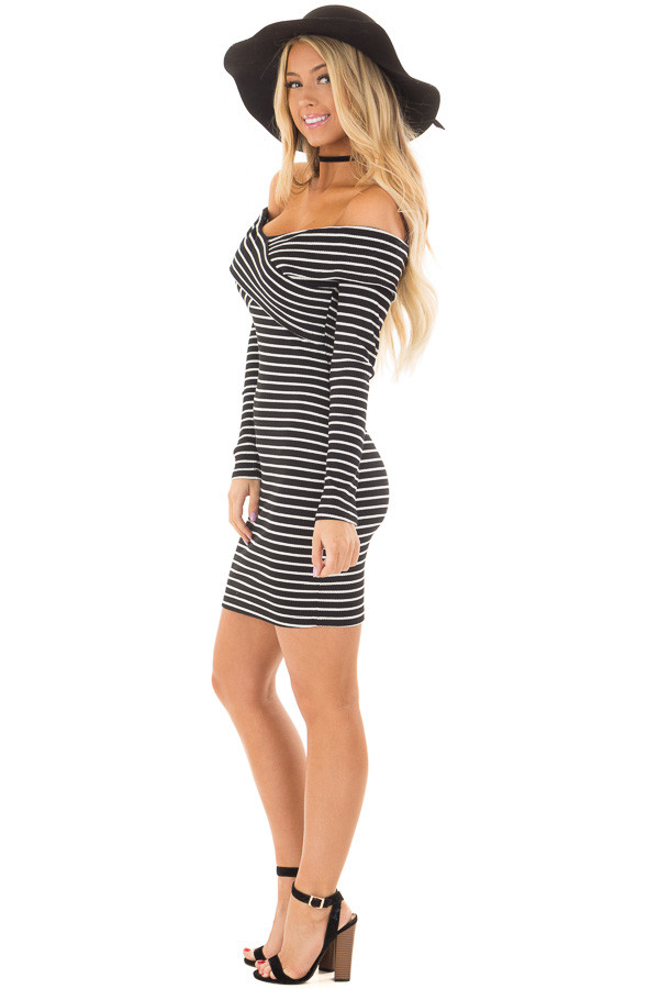 Black and White Striped Off the Shoulder Bodycon Dress side full body