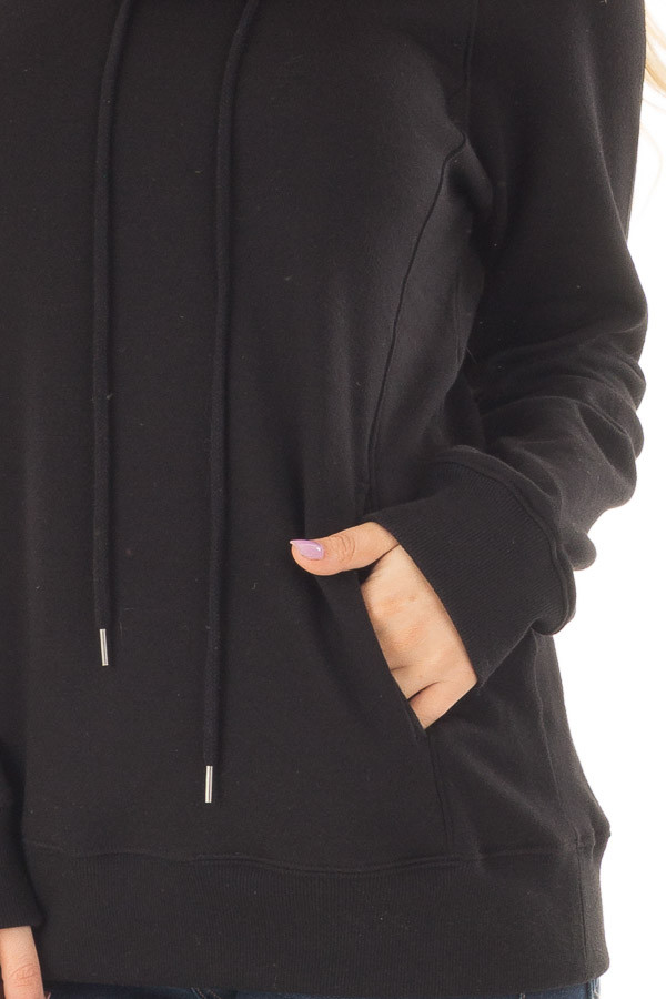 Black Long Sleeve Cowl Neck Sweater with Front Pockets front detail