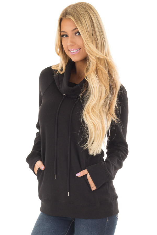 Black Long Sleeve Cowl Neck Sweater with Front Pockets front closeup