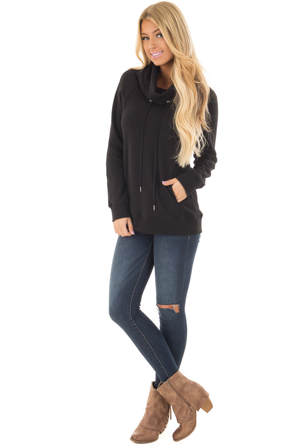 Black Long Sleeve Cowl Neck Sweater with Front Pockets front full body