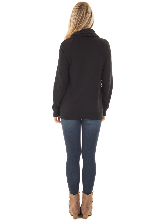 Black Long Sleeve Cowl Neck Sweater with Front Pockets back full body