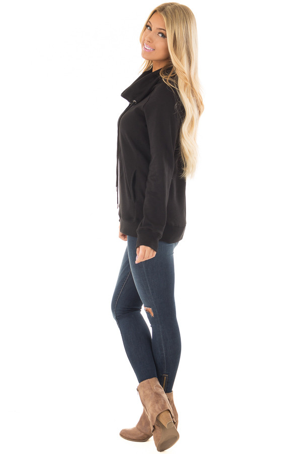 Black Long Sleeve Cowl Neck Sweater with Front Pockets side full body