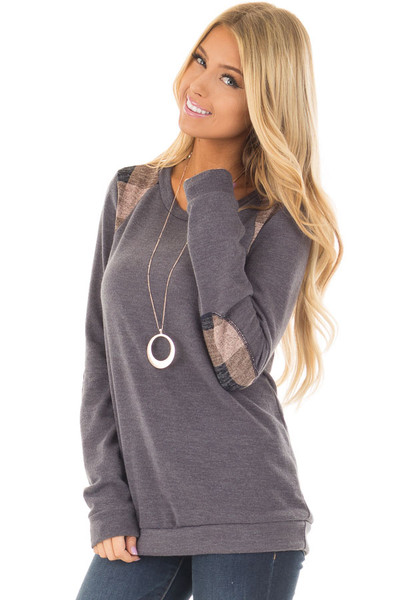 Charcoal Sweater with Mauve Plaid Elbow Patches front closeup