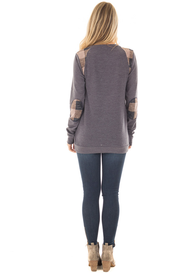 Charcoal Sweater with Mauve Plaid Elbow Patches back full body