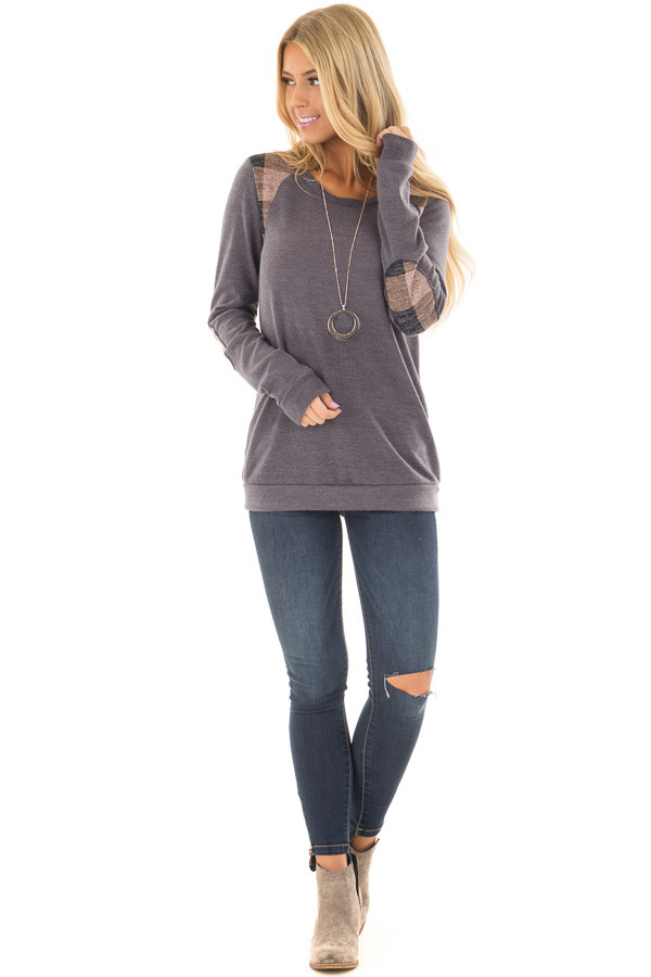 Charcoal Sweater with Mauve Plaid Elbow Patches front full body