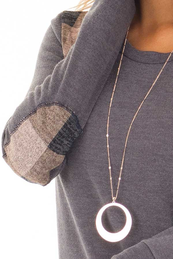 Charcoal Sweater with Mauve Plaid Elbow Patches front detail