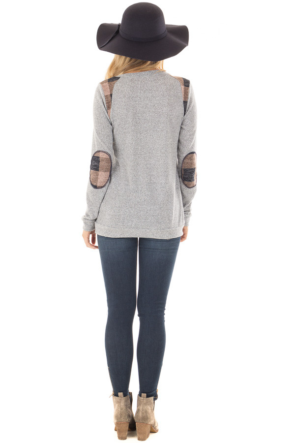 Heather Grey Sweater with Mauve Plaid Elbow Patches back full body
