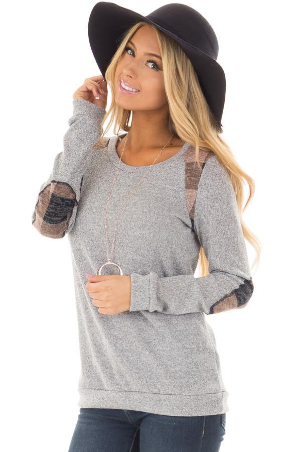 Heather Grey Sweater with Mauve Plaid Elbow Patches front closeup
