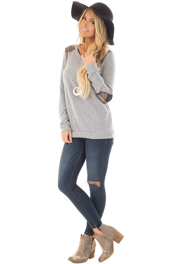 Heather Grey Sweater with Mauve Plaid Elbow Patches front full body