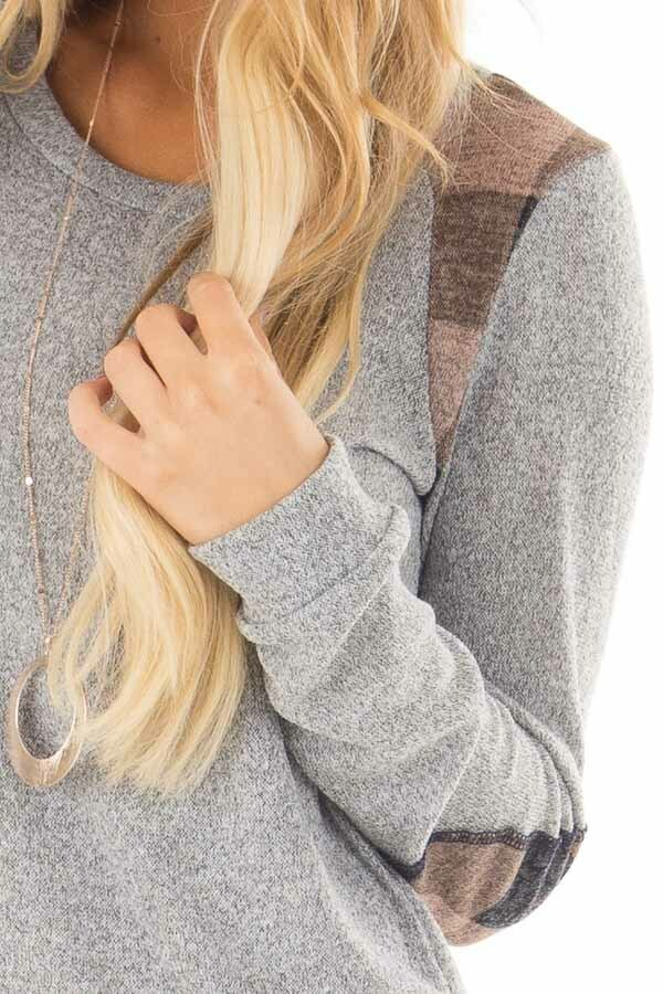 Heather Grey Sweater with Mauve Plaid Elbow Patches front detail