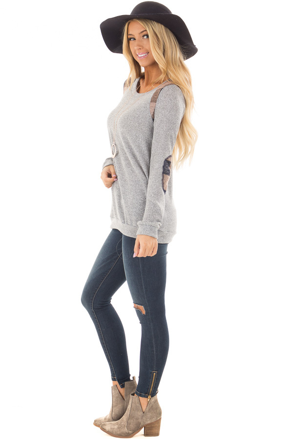 Heather Grey Sweater with Mauve Plaid Elbow Patches side full body