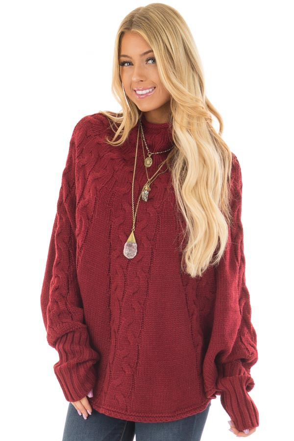Burgundy Cable Knit High Neck Poncho Style Top with Cuffs front closeup