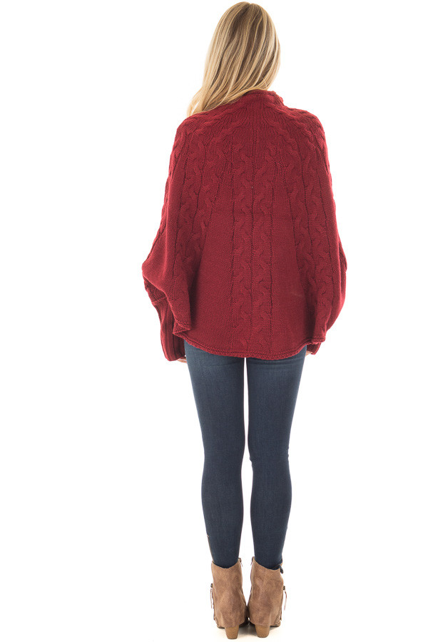Burgundy Cable Knit High Neck Poncho Style Top with Cuffs back full body