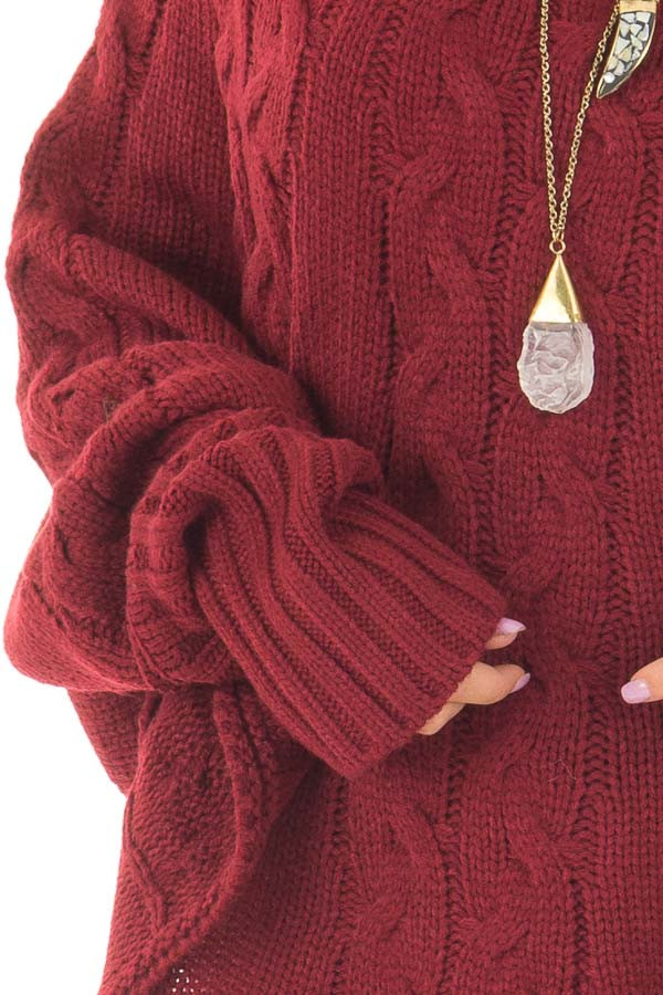 Burgundy Cable Knit High Neck Poncho Style Top with Cuffs front detail