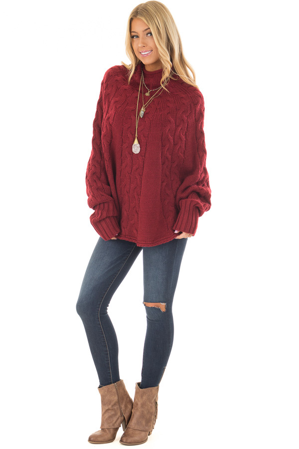 Burgundy Cable Knit High Neck Poncho Style Top with Cuffs front full body