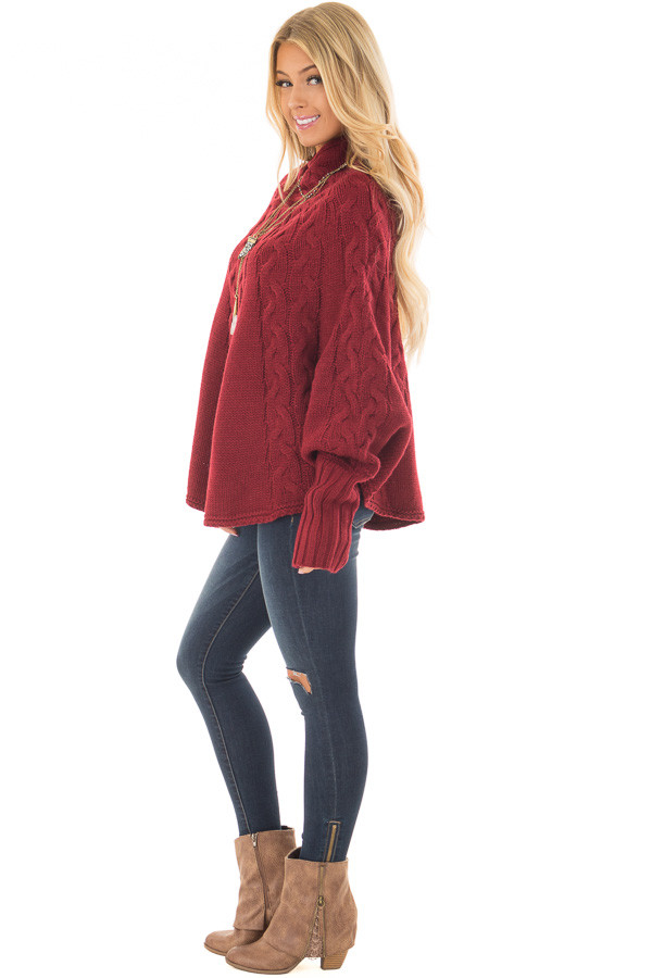 Burgundy Cable Knit High Neck Poncho Style Top with Cuffs side full body