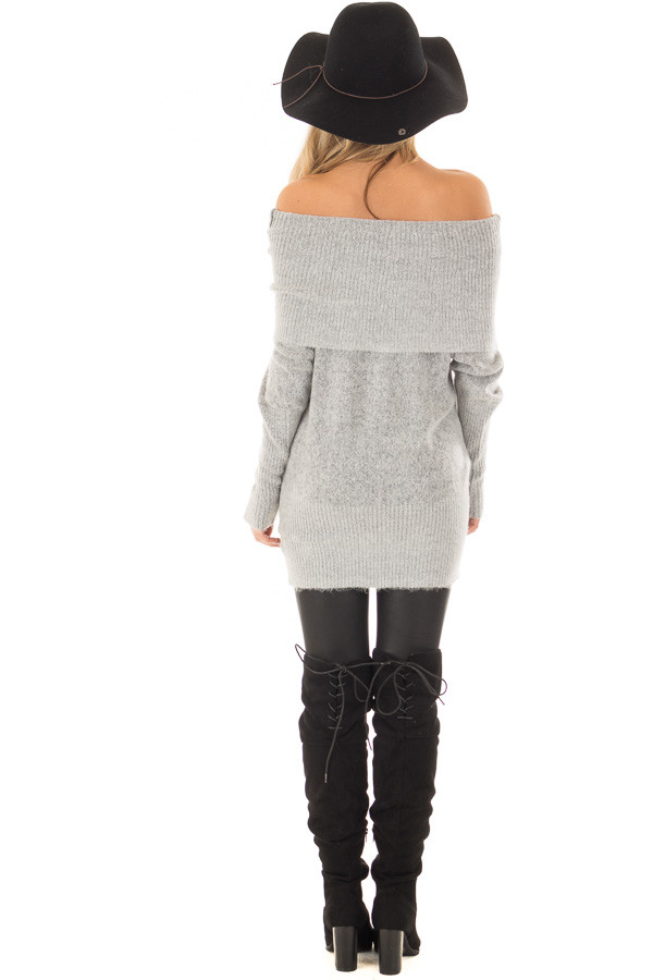 Heather Grey Off the Shoulder Long Sleeve Tunic back full body